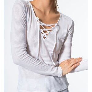Alo Yoga | Interlace White Long Sleeve Top Size L